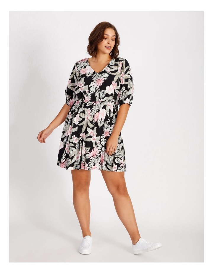 Curve Puff Sleeve Printed Mini Dress image 1