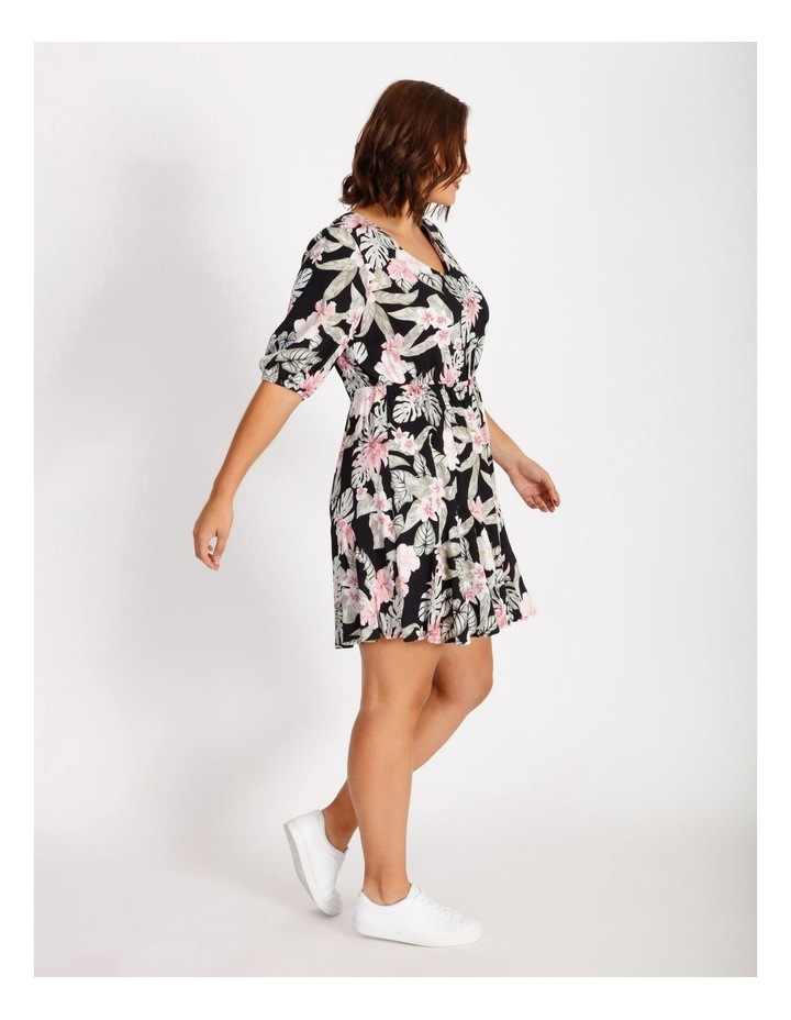 Curve Puff Sleeve Printed Mini Dress image 2