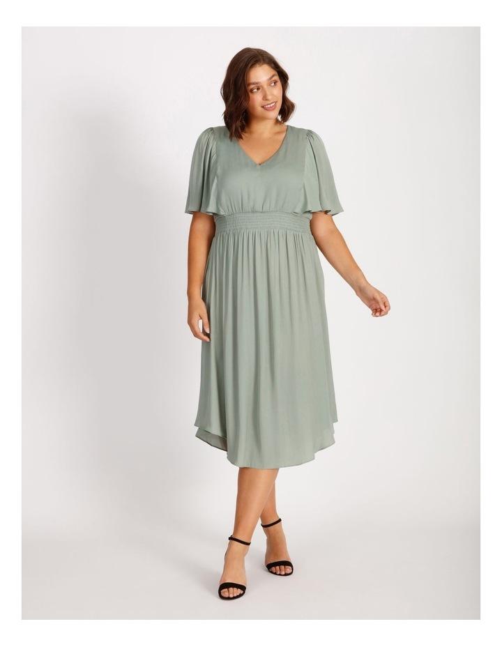 Curve Hankie Hem Satin Midi Dress image 1
