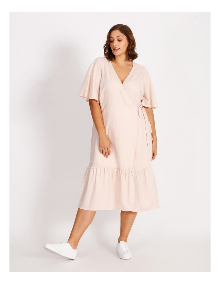 Curve Linen Blend Wrap Midi Dress image 1