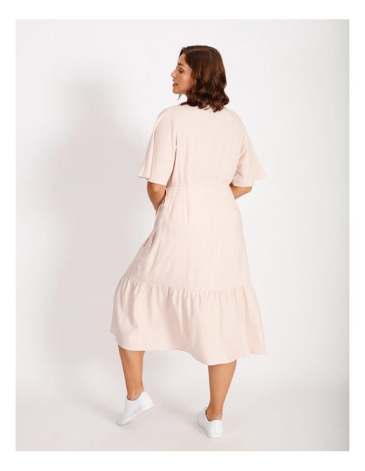 Curve Linen Blend Wrap Midi Dress image 3