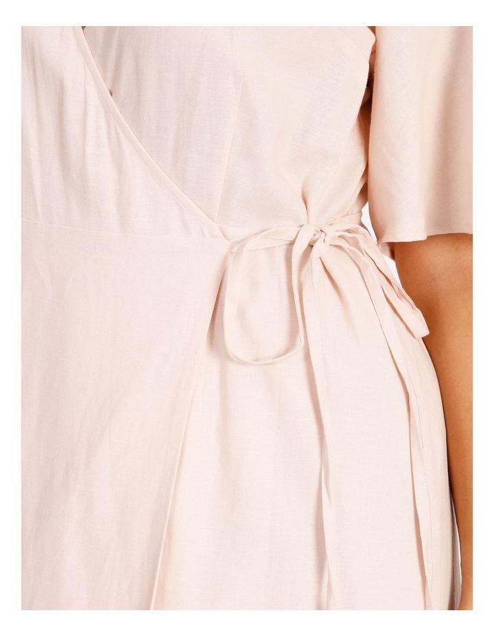 Curve Linen Blend Wrap Midi Dress image 4