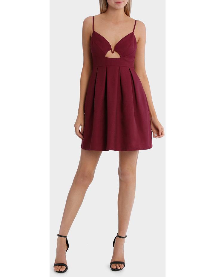 front cut out pleat skirt dress - grape image 1