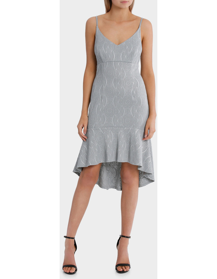 textured flounce plunge dress image 1