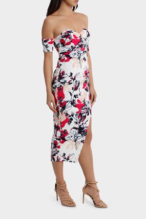 L/A Collective - off the shoulder aysmetrical hem dress