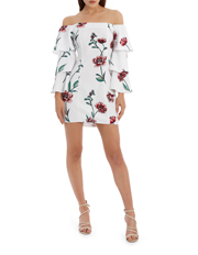 L/A Collective - Off The Shoulder Ruffle Sleeve Dress