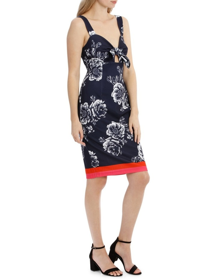 Tie Front Body Con Dress With Tipping image 2