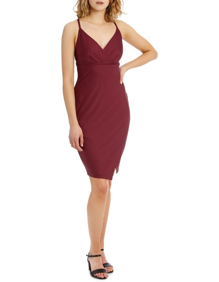 Wrap Front Bodycon Dress With Split image 1