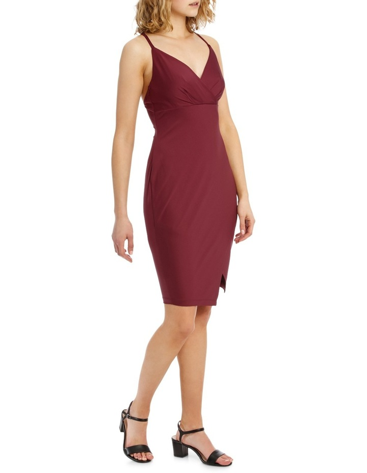Wrap Front Bodycon Dress With Split image 2