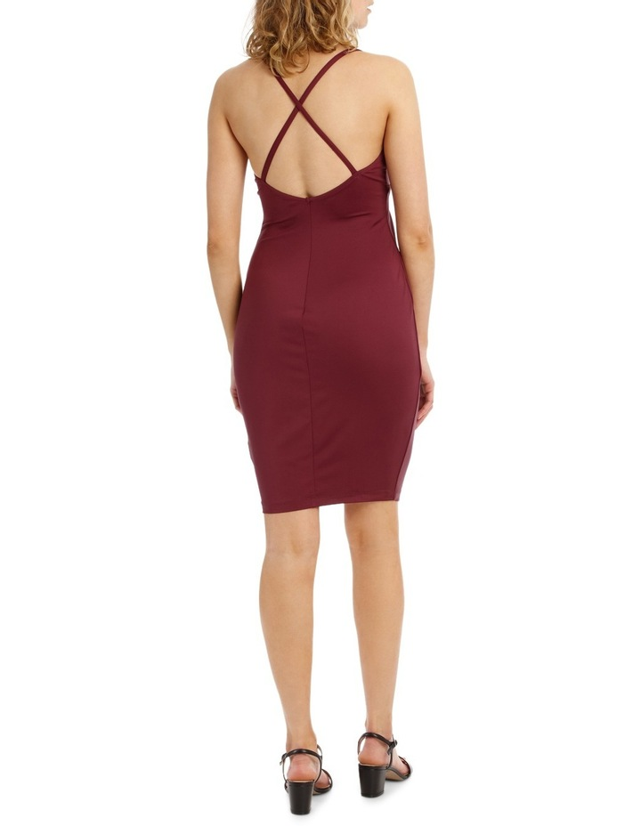 Wrap Front Bodycon Dress With Split image 3