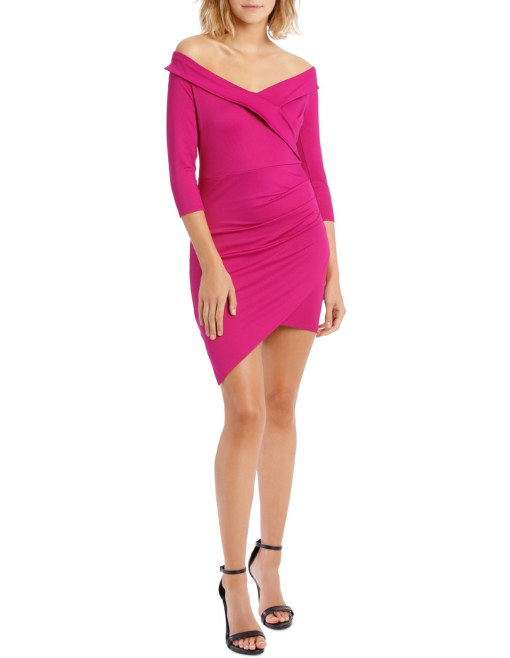 Long Sleeve Rouched Jersey Dress Magenta image 1