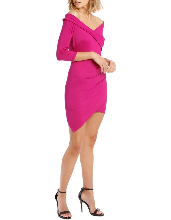 Long Sleeve Rouched Jersey Dress Magenta image 2