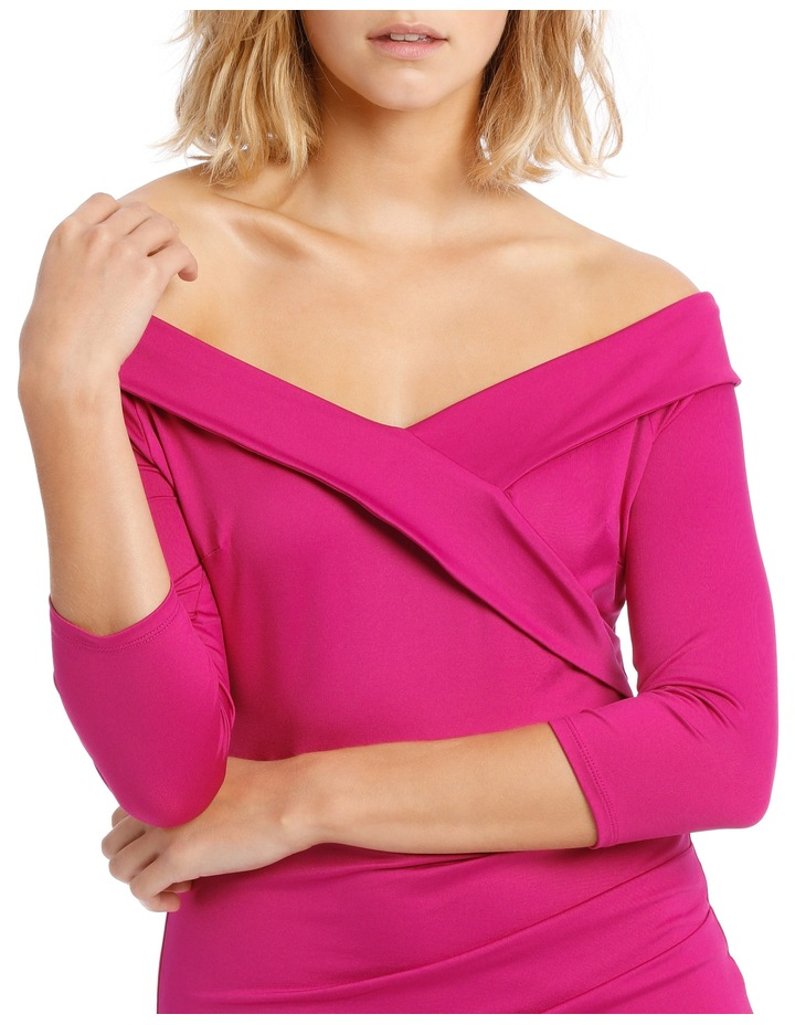 Long Sleeve Rouched Jersey Dress Magenta image 4