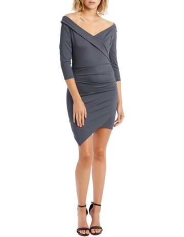 dcc1753fb L/A CollectiveLong Sleeve Rouched Jersey Dress - Charcoal. L/A Collective  Long Sleeve Rouched Jersey Dress - Charcoal