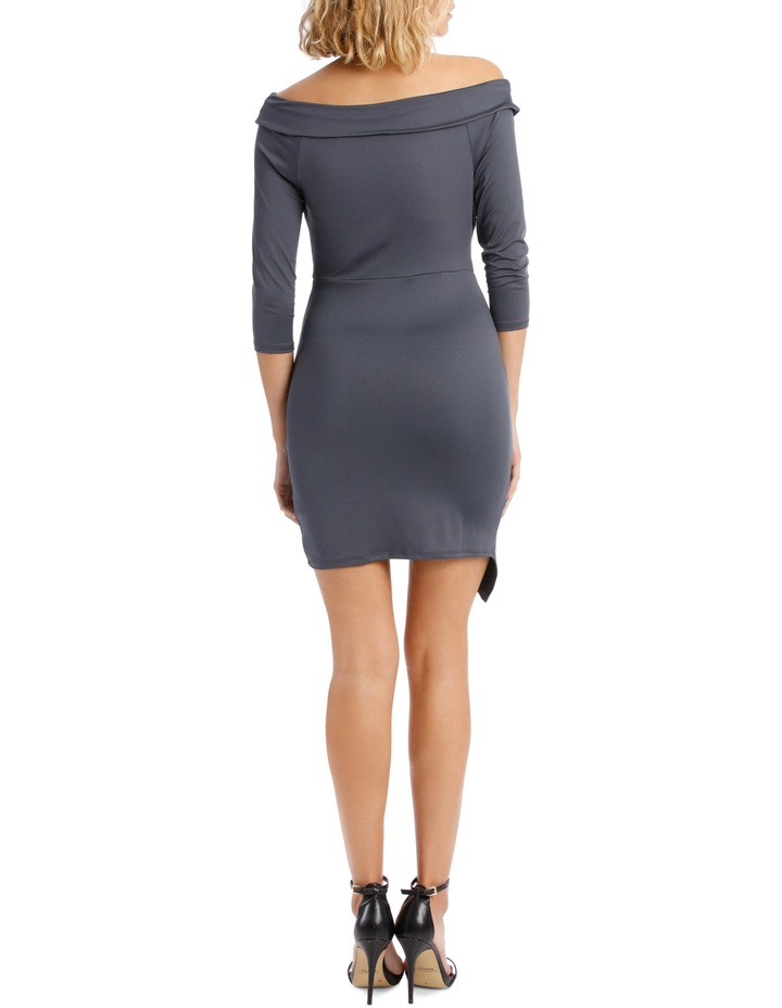 Long Sleeve Rouched Jersey Dress - Charcoal image 3