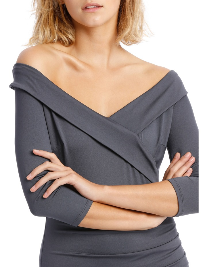 Long Sleeve Rouched Jersey Dress - Charcoal image 4