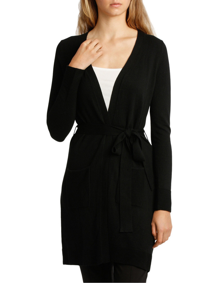 Long Line Belted Cardigan - Black image 1