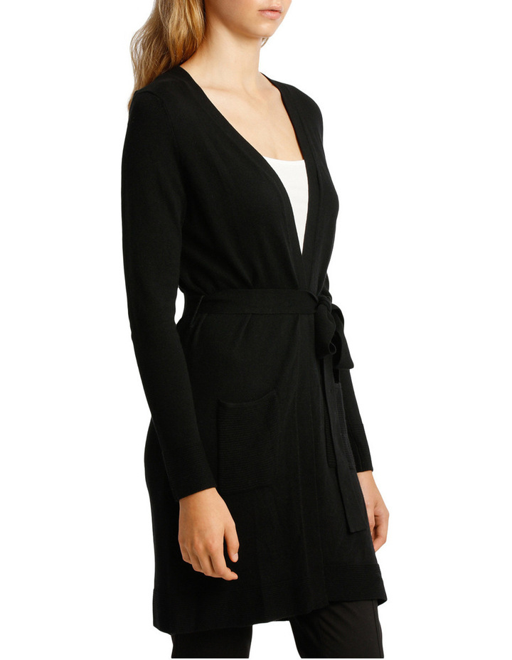 Long Line Belted Cardigan - Black image 2