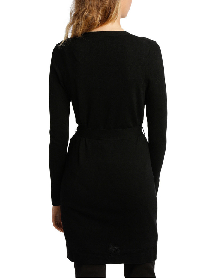 Long Line Belted Cardigan - Black image 3