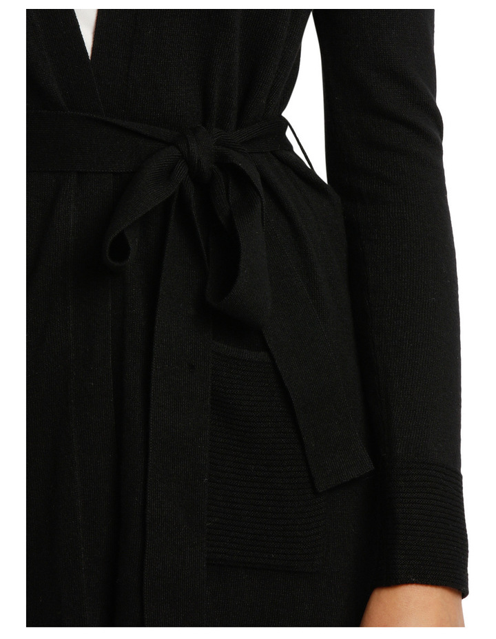 Long Line Belted Cardigan - Black image 4