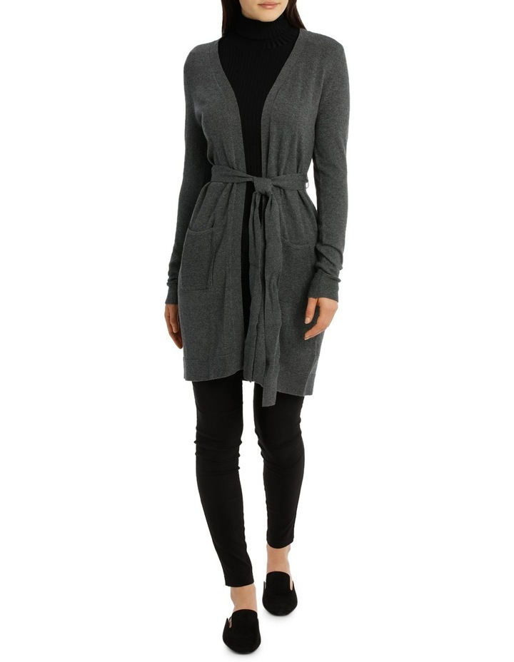 Long Line Belted Cardigan - Charcoal Marle image 1