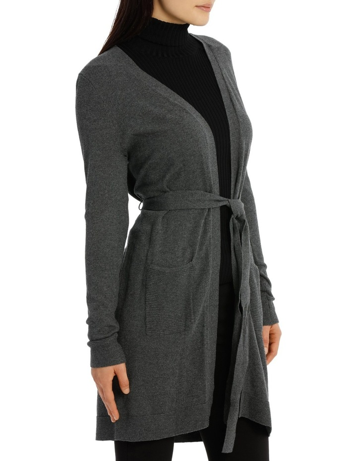 Long Line Belted Cardigan - Charcoal Marle image 2