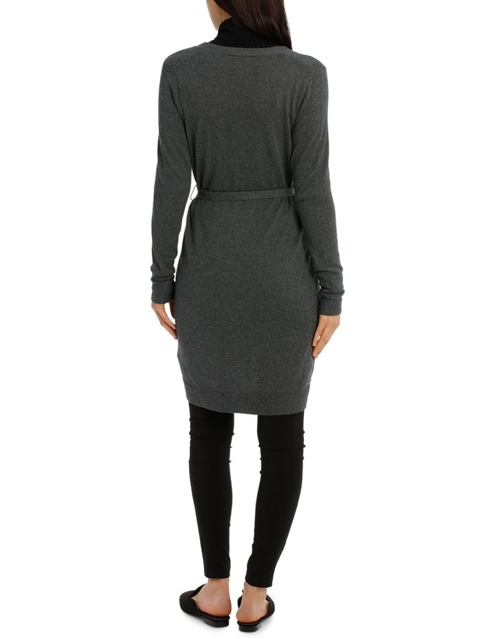 Long Line Belted Cardigan - Charcoal Marle image 3