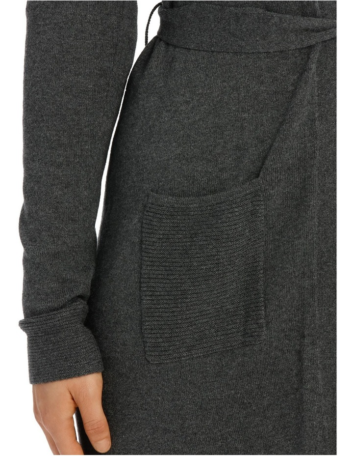 Long Line Belted Cardigan - Charcoal Marle image 4