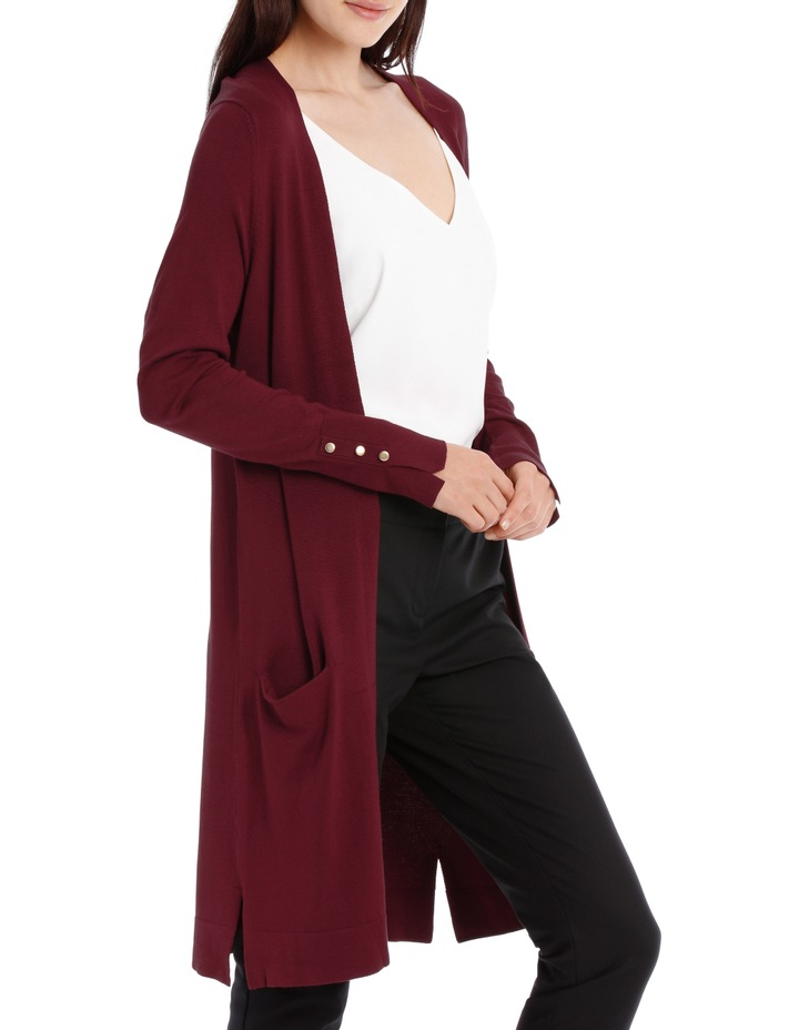Long Line Cardigan - Plum image 2