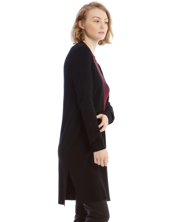 Black Long Line Cardigan image 2