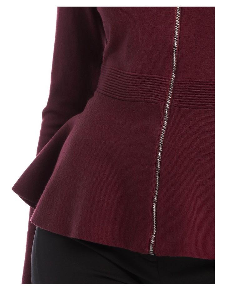 Zip Front Peplum Knit Top image 4