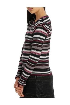 Tokito - frill shoulder jumper - reverse stripe