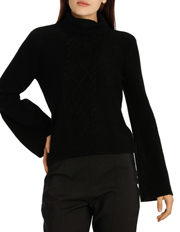 Tokito - Roll Neck Cable Jumper With Flute Sleeves
