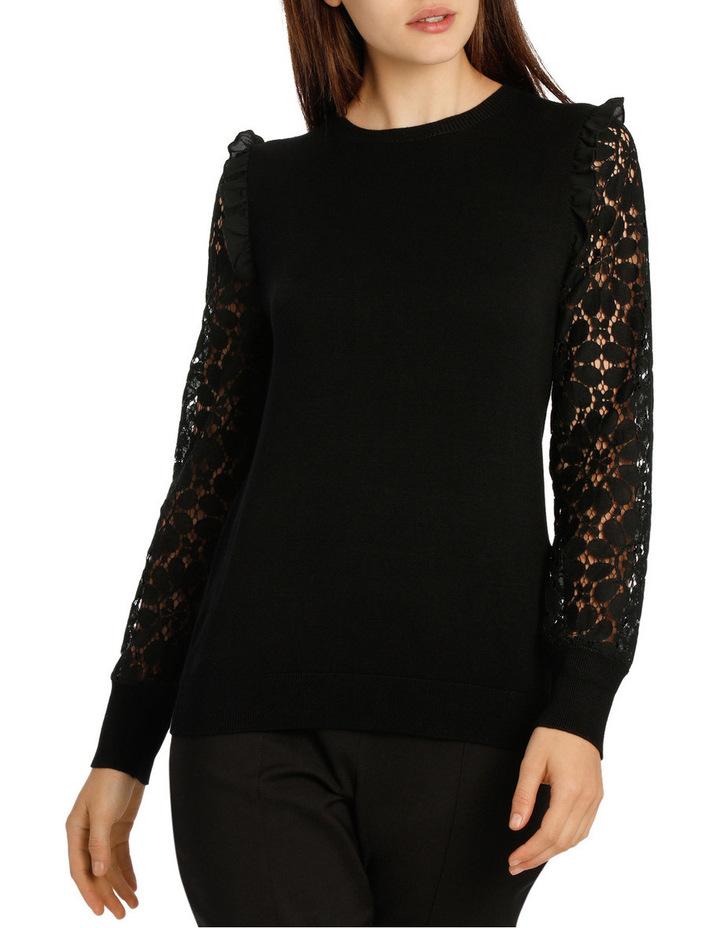 Lace Sleeve Knit - Black image 1