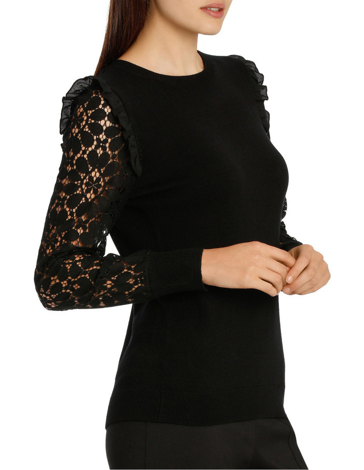 Lace Sleeve Knit - Black image 2