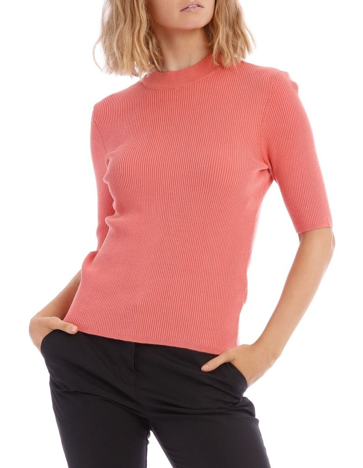 Peach High Neck Short Sleeve Rib Jumper image 1