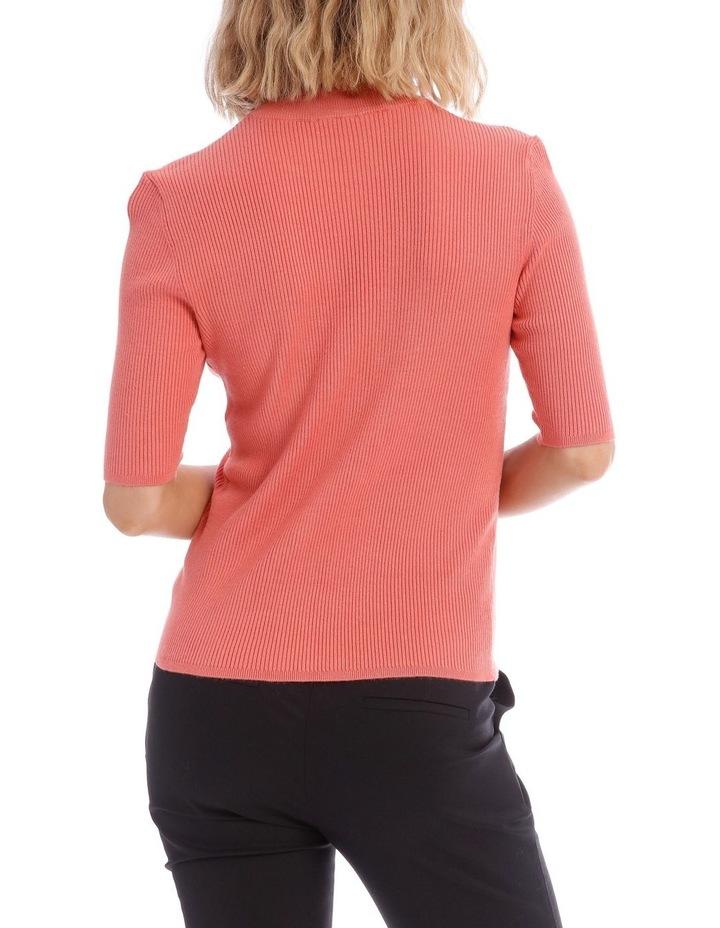 Peach High Neck Short Sleeve Rib Jumper image 3