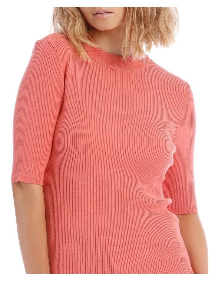Peach High Neck Short Sleeve Rib Jumper image 4