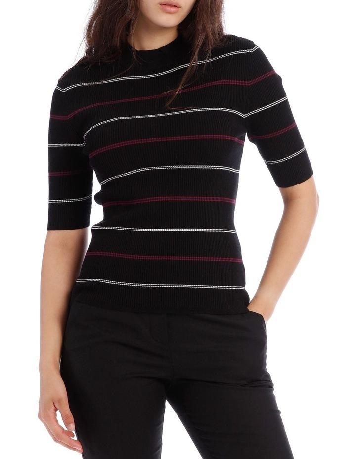 Black High Neck Short Sleeve Rib Jumper image 1