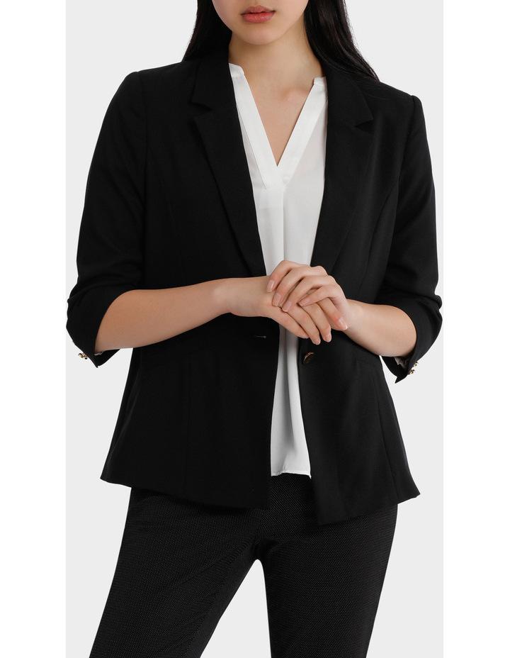 rouched sleeve jacket - black image 1