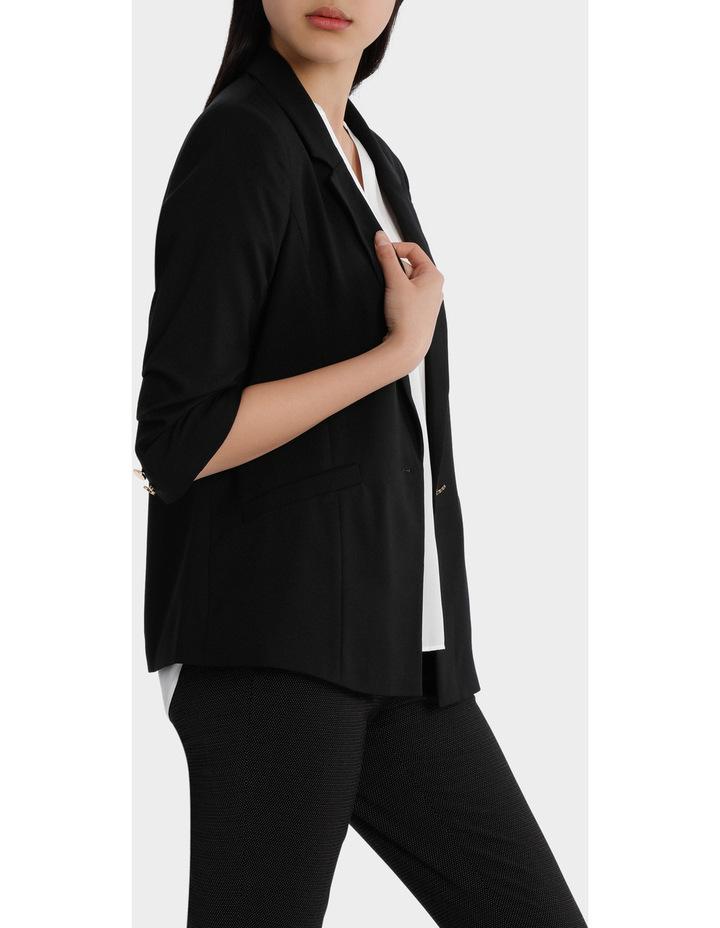 rouched sleeve jacket - black image 2