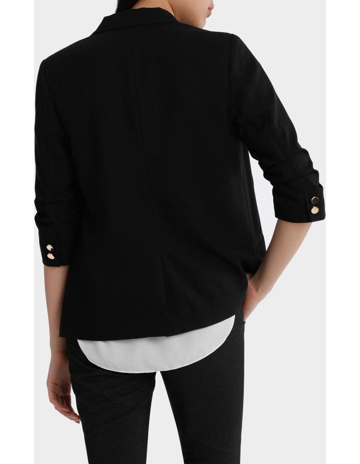 rouched sleeve jacket - black image 3