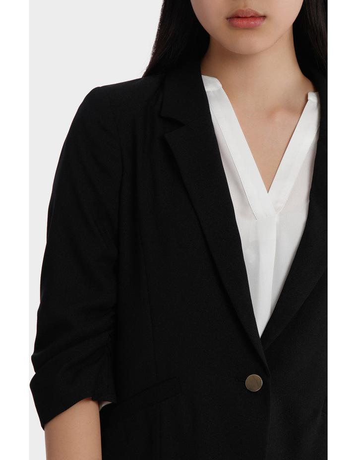 rouched sleeve jacket - black image 4