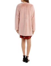 Tokito - Faux Fur Collarless Coat - Hazey Blush