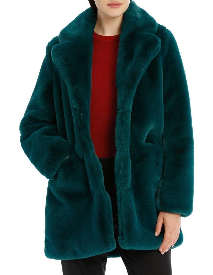 faux fur coat - emerald image 1