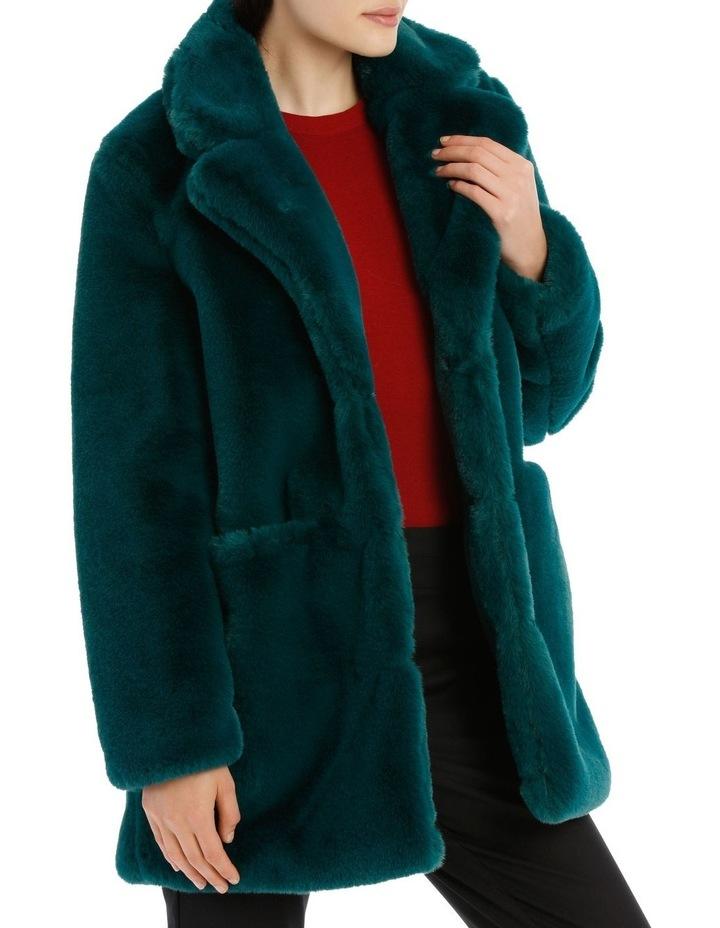 faux fur coat - emerald image 2