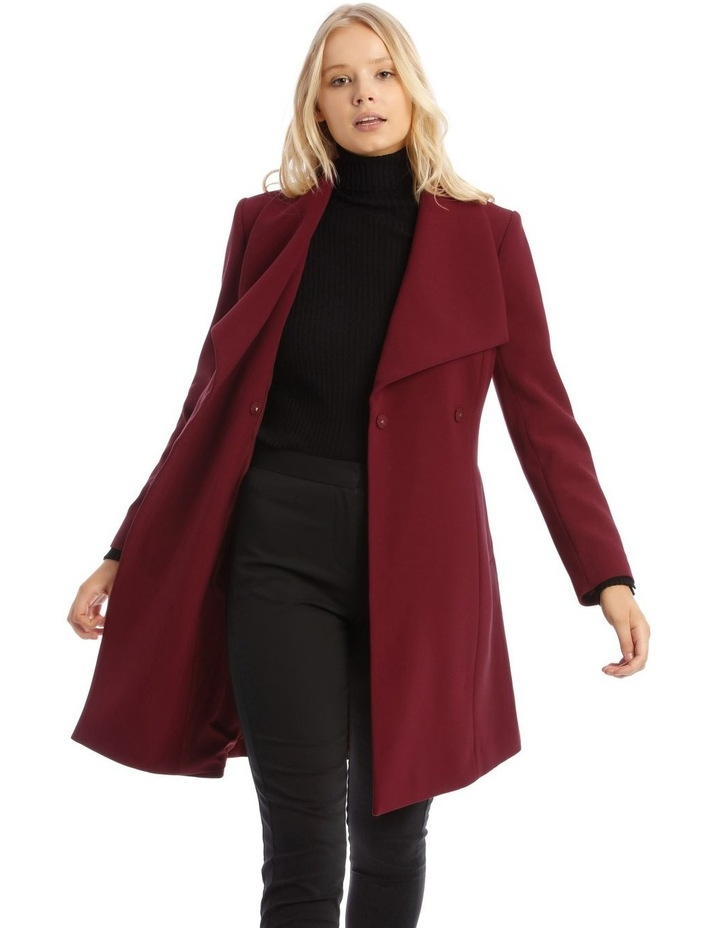 Burgundy Belted Wrap Coat image 1