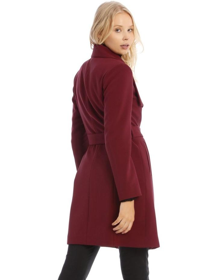 Burgundy Belted Wrap Coat image 3