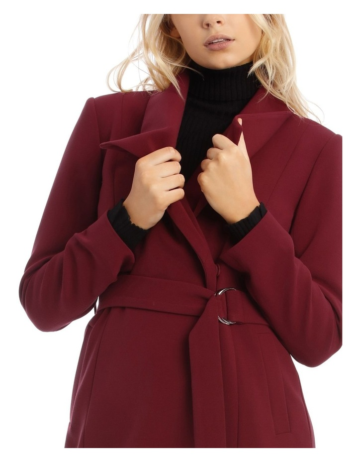 Burgundy Belted Wrap Coat image 4