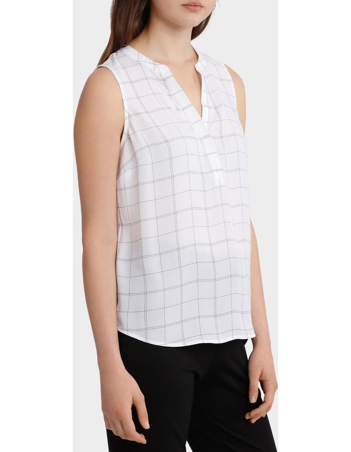 Collarless Sleeveless Shirt - Grid Print image 1